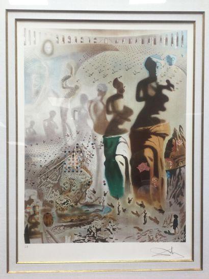 """DALI : 1 Lithographie """"Le toréador hallucinogène"""" 56 x 76 avec documents d'auth..."""