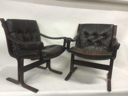 """INGMAR RELLING pour Westnofa Paire de fauteuils """"Siesta"""" en bois et en cuir des..."""