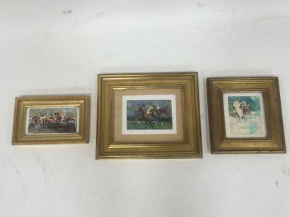 3 aquarelles Louis Vipal représentants des...
