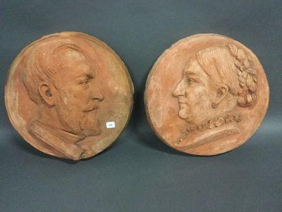 CHARDIGNY Jules (1842-1892), Paire de médaillons...