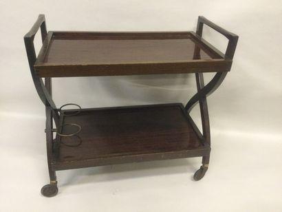 CHARIOT de service en bois et métal à 2 plateaux...