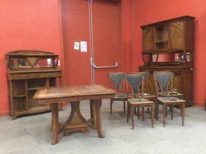 EDOUARD DIOT Salle a manger ART NOUVEAU composée d'un buffet , d'une déserte (manque...