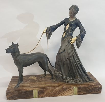 Georges GORI (XIX-XX), femme au dogue allemand,...