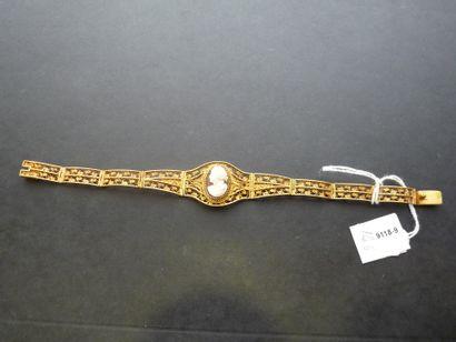 Bracelet en or jaune 18K (750/oo) à plaquettes...