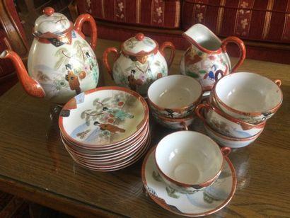 Service à thé en porcelaine à décor japo...
