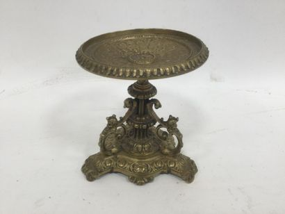 Bronze, vide poche tripode, ht. 16 cm
