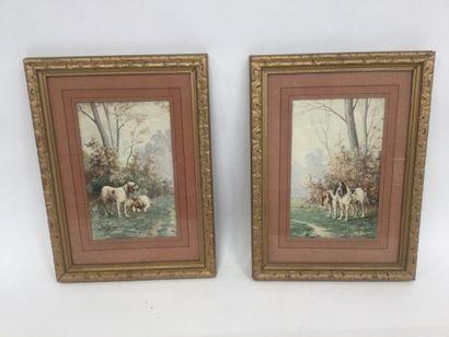 L.DAREY( 1863 - 1914 ) deux aquarelles ,...