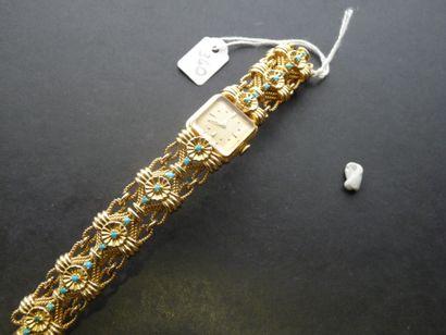 Bracelet Montre de dame en or jaune 18K (750/oo),...