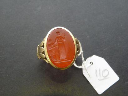 Chevalière ancienne en or jaune 18K (750/oo)...