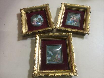 3 miniatures sur ivoire signées représentant...
