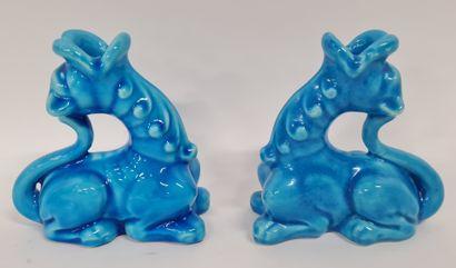 LONGWY, Paire de bougeoirs dragon bleu de...