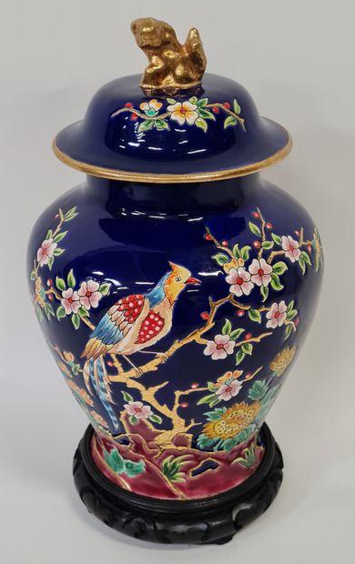 LONGWY, Boîte à thé chinoise, riche décor...