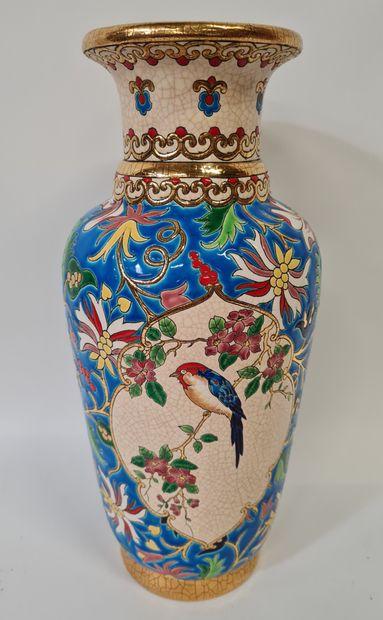 LONGWY, Vase Traditionnel à semis et cartel....