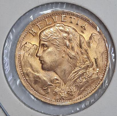 SUISSE, 20 Francs or 1935 B, Poids : 6,4...