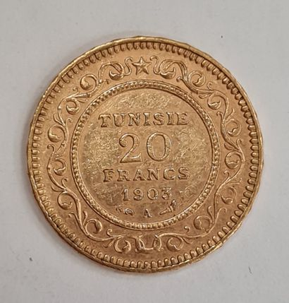 TUNISIE, 20 Francs or 1903 A, poids : 6,44...