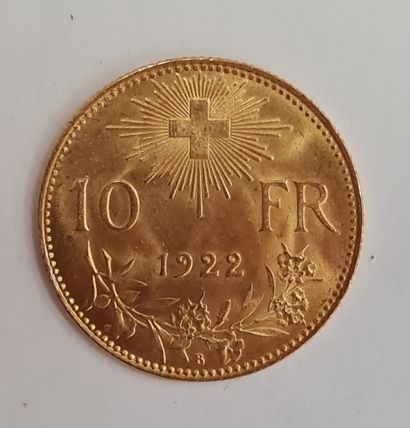 SUISSE, Monnaie de 10 Francs or 1922 B, poids...