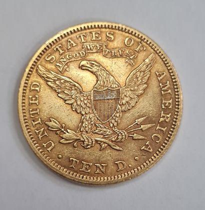 USA, 10 Dollars or 1907 Philadelphie. (16,77 g), TTB.