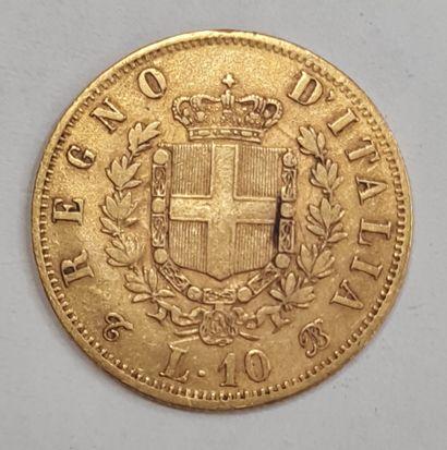 ITALIE, Monnaie de 10 Lire or 1863. TTB
