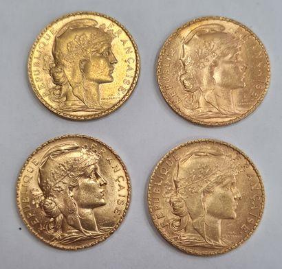 Lot de 4 Monnaies 20 Francs or Marianne.