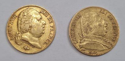 Louis XVIII 2 monnaies de 20 Francs or, 1815 A et 1818 A, poids : 6,41 g et 6,48...
