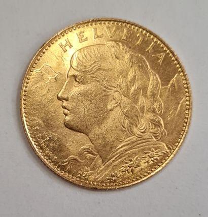 SUISSE, Monnaie de 10 Francs or 1922 B, poids : 3,24 g.