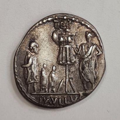 REPUBLIQUE ROMAINE - PAULLUS AEMILIUS LEPIDUS - Denier argent - A/ Tête de la Concorde...