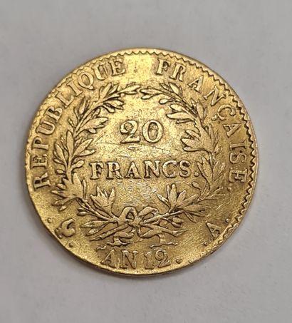 Napoléon Ier, 20 Francs or, AN 12 A, poids : 6,39 g, TTB.