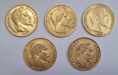 Napoléon III, Lot de 5 monnaies 20 Francs...