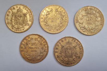 Napoléon III, Lot de 5 monnaies 20 Francs or.