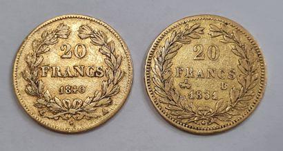 Louis Philippe Ier, 2 monnaies 20 Francs or, 1831 B et 1840 A, poids : 6,41 g