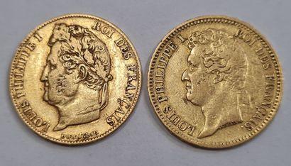 Louis Philippe Ier, 2 monnaies 20 Francs...