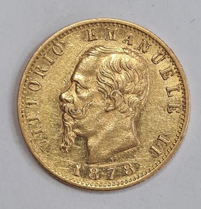 ITALIE, Monnaie de 20 Lires or 1878. TTB...