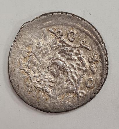 REPUBLIQUE ROMAINE - CORDIA - Denier argent - A/ Casque corinthien à droite, surmonté...