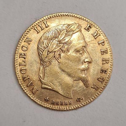 Napoléon III, 5 Francs or 1866 A, poids : 1,63 g. TTB.