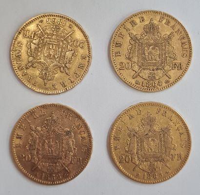Napoléon III, Lot de 4 monnaies 20 Francs or.