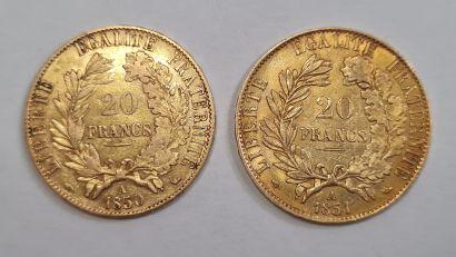 2 Monnaies 20 Francs or Cérès 1850 A et 1851 A, poids : 6,4 g. TTB.