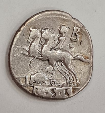 REPUBLIQUE ROMAINE - QUINCIUS - Denier argent - A/ Buste héroïque et lauré d'Hercule...