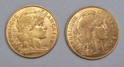 Lot de 2 Monnaies 10 Francs or Marianne.