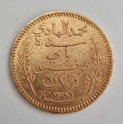 TUNISIE, 20 Francs or 1903 A, poids : 6,44 g.