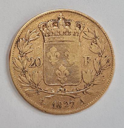 Charles X, monnaie 20 francs or 1827 A, poids : 6,35 g, TB/TTB