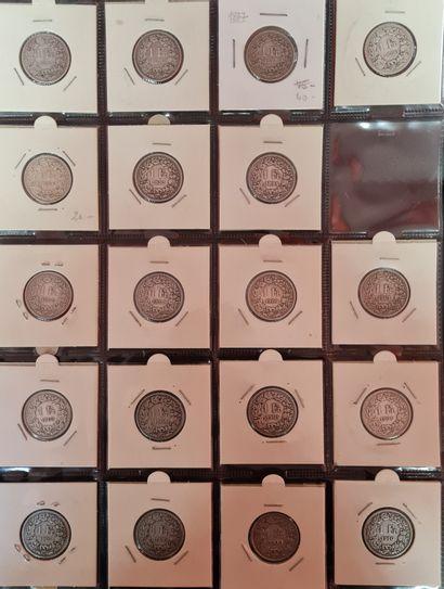 SUISSE,3 pages de classeur contenant 54 monnaies...
