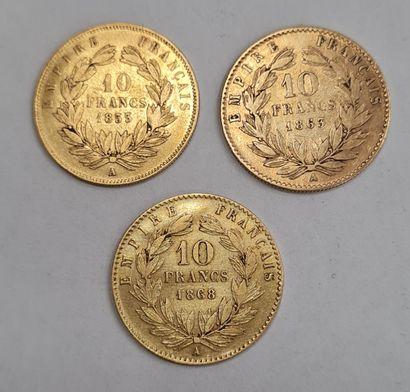 Napoléon III, Lot de 3 Monnaies de 10 francs or.