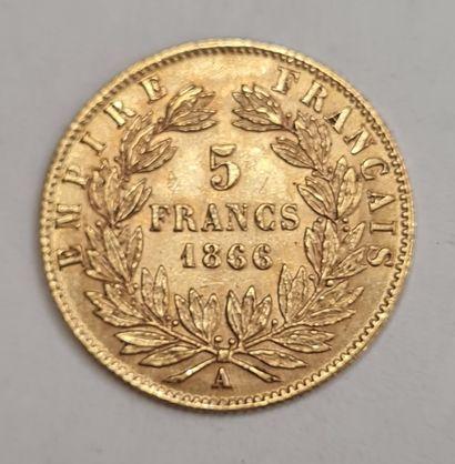 Napoléon III, 5 Francs or 1866 A, poids :...