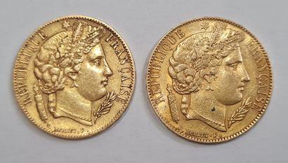 2 Monnaies 20 Francs or Cérès 1850 A et 1851...