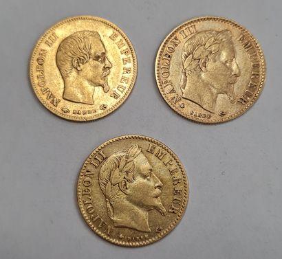 Napoléon III, Lot de 3 Monnaies de 10 francs...