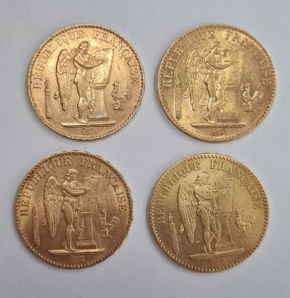 Lot de 4 monnaies 20 Francs or au Génie.