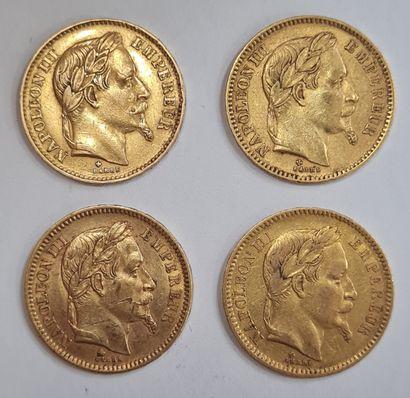 Napoléon III, Lot de 4 monnaies 20 Francs...
