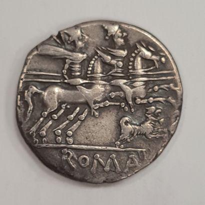 REPUBLIQUE ROMAINE - ANTESTIA - Denier argent - A/ Tête de Rome à droite, casquée...