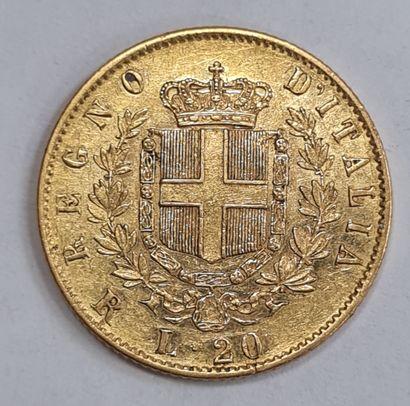 ITALIE, Monnaie de 20 Lires or 1878. TTB.