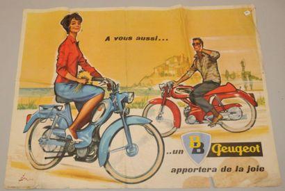 AFFICHE CYCLOSPORT PEUGEOT DES ANNEES 50...